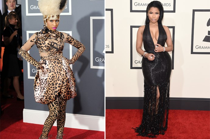 Nicki Minaj, like Lady Gaga, enjoyed the shock and fun when she was a younger music legend, but she's recently evolved into slinky designer dresses.