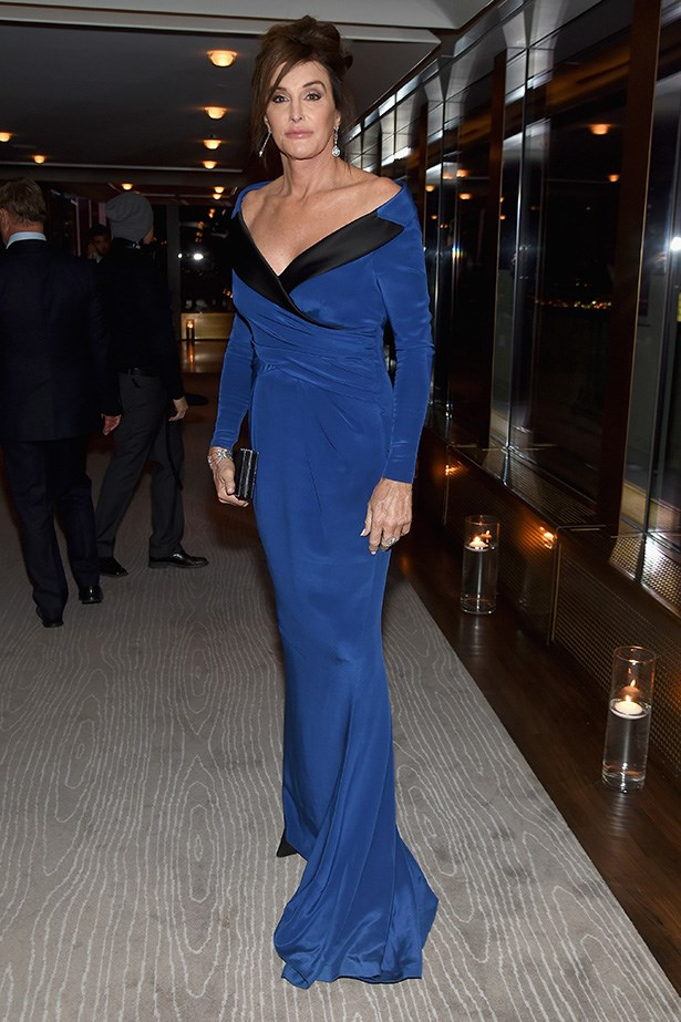 Caitlyn Jenner is old-school Hollywood glamour in the inky custom Moschino gown. Image: Getty