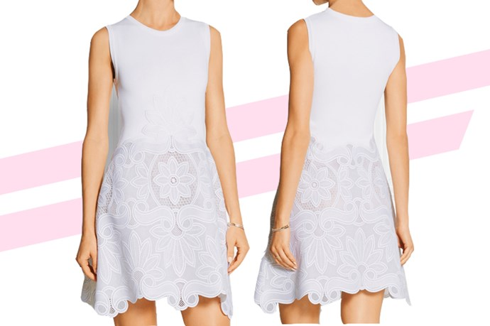 "Got a garden wedding on the horizon? This little <a href=""http://www.net-a-porter.com/au/en/product/649058/antonio_berardi/stretch-knit-and-guipure-lace-mini-dress"">lace mini</a> is sweet and dressy, but casual enough that you could wear it with a pair of oxfords and  a sweater to work."