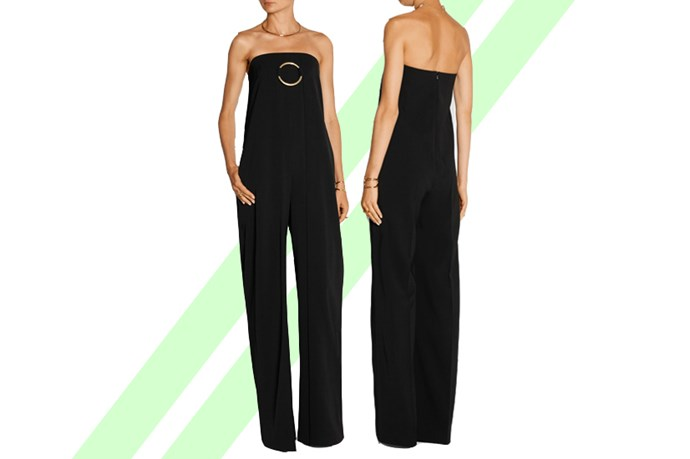 "Ah, the <a href=""http://www.net-a-porter.com/au/en/product/590548/stella_mccartney/strapless-wool-twill-jumpsuit "">jumpsuit</a>. If you bought this baby for a 'business casual' wedding, where wouldn't you wear it? The office! A party! An event! Outside your ex's house!"