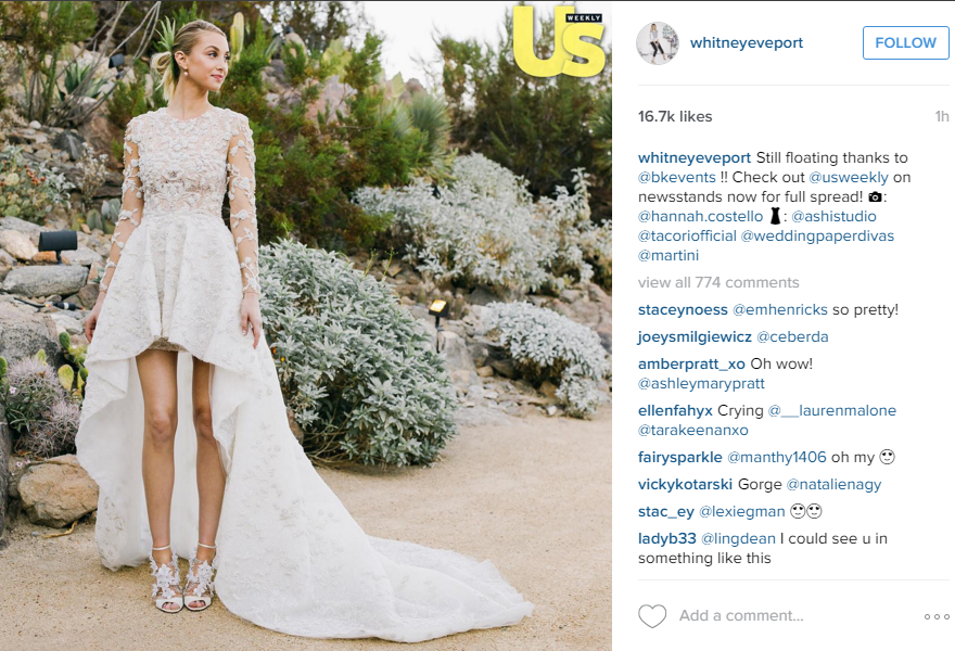 "Whitney Port married Tim Rosenman on Saturday, November 7 and opted for anything but a traditional wedding dress. <br><br>The stunning waterfall hemline lace dress was designed in collaboration with Ashi Studio.<br><br> Port shared her wedding album with US Weekly, get more details  <a href="" http://www.usmagazine.com/celebrity-style/news/whitney-port-waterfall-hemline-wedding-dress-bride-picture-20151111"">here</a></p>"