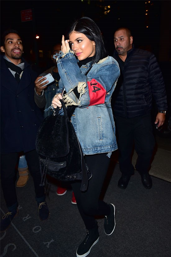 "Kylie wore this <a href=""http://nymag.com/thecut/2015/11/kylie-jenner-glamour-awards-jean-jacket.html#"">$600 denim jacket</a> to the Glamour Women of the Year Awards, posting on Instagram that she had wardrobe malfunctions, but was still there to support Caitlyn Jenner who was woman of the year."