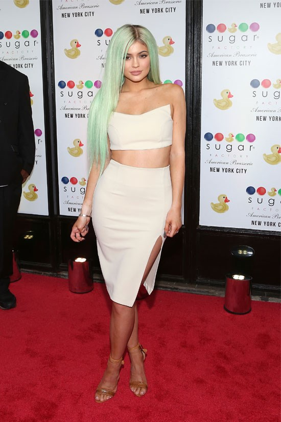 Kylie makes a bold statement with her green locks.