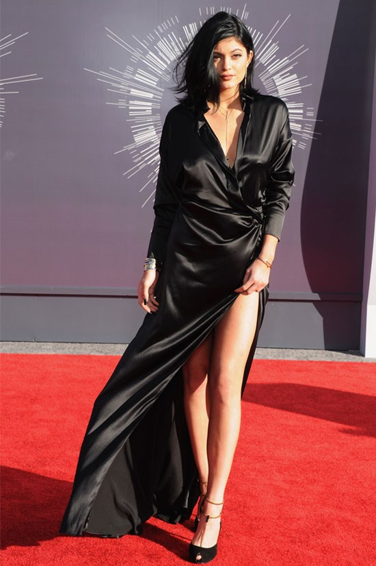 Kylie wows in another silk gown.