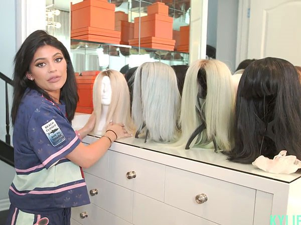 """<p>Kylie's wig station which includes her blue moment and the 50's style cut with bangs she wore to the 2015 VMAs.</p> <p> """"I think I'm a wig girl. I love wigs and they're super easy.""""</p>"""