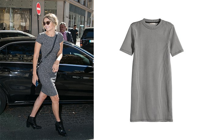 "<p>Gigi Hadid styles her ribbed dress with reflector sunnies to add an interesting edge.</p> <p>Ribbed dress, $59.99, <a href=""http://www.hm.com/au/product/34857?article=34857-A"">H&M</a>"