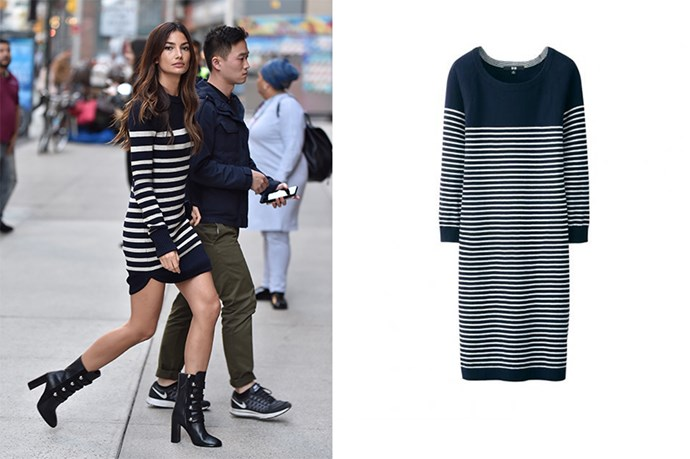 "<p>Lily Aldridge proves that stripey dress do not have to be boring, just add statement accessories and a killer blow-dry.</p> <p>Striped dress, $29.95, <a href=""http://www.uniqlo.com/au/store/women-cotton-cashmere-striped-dress-1404760010.html#colorSelect"">Uniqlo</a>"