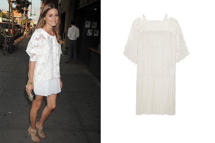 "<p>Olivia Palermo always looks like a summer nights dream, steal her look and buy a boho white dress.</p> <p>Mini dress, $815, <a href=""http://www.net-a-porter.com/au/en/product/589126/etoile_isabel_marant/aude-embroidered-georgette-mini-dress"">Net-A-Porter</a> </p>"