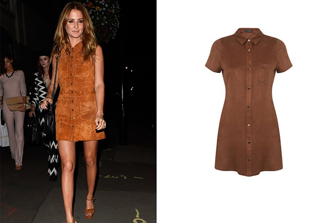 "<p>Millie Mackintosh goes 70s in this button-up suede dress, take the plunge and give this look a go this summer.</p> <p>Suede dress, $113, <a href=""http://www.lordandtaylor.com/webapp/wcs/stores/servlet/en/lord-and-taylor/sueded-shirt-dress/?site_refer=AFF001&mid=40480&siteID=Hy3bqNL2jtQ-TokRKAMg8GIOt9bRpspd7w"">Lord And Taylor</a></p>"