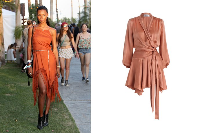 "<p>Keep things warm hued this summer like Jasmine Tookes at Coachella.</p> <p>Tie-up Dress, $595, <a href=""http://www.zimmermannwear.com/empire-sueded-robe-dress-ochre.html"">Zimmermann</a></p>"