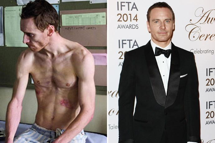 Michael Fassbender got scary-skinny playing a hunger strike activist in <em>Hunger</em>.