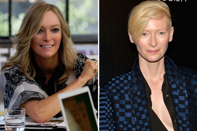 Tilda Swinton's transformation in <em>Trainwreck </em>didn't require weight loss, hair shaving or piercings, but it did require a lot of fake tan.