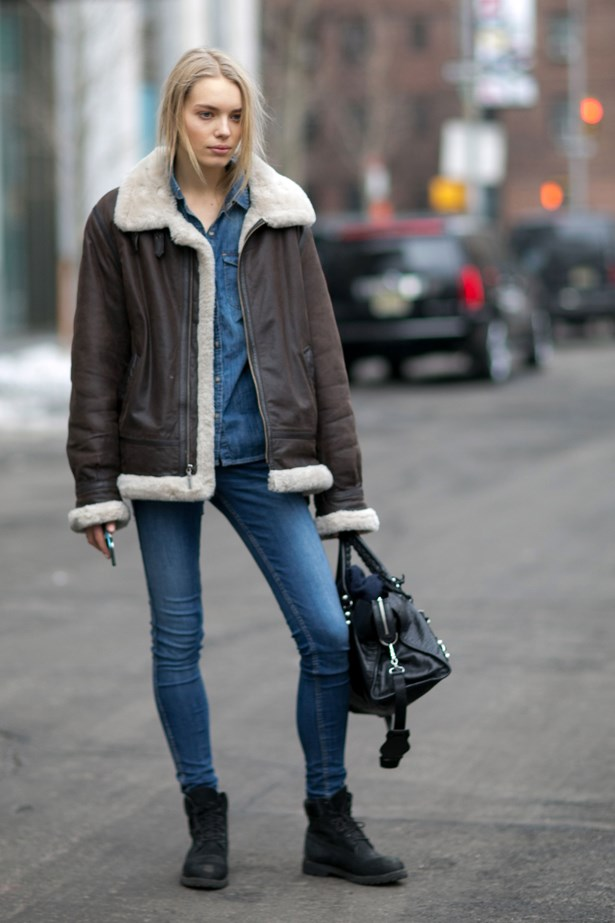 Add a rough oversized jacket.
