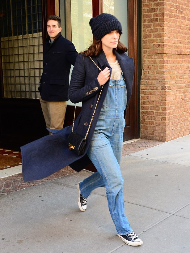 Overalls, a beanie and a Chanel bag. Ultimate cool chic.