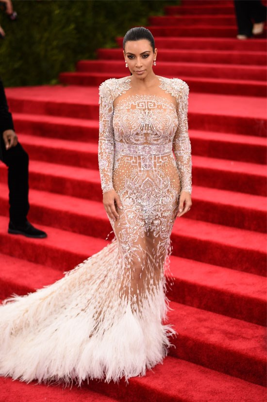 <strong>Kim Kardashian</strong> <br> <br> Where would 2015 be without the naked dress-wearing of Kim K? Kim still manages to look sophisticated whilst showing some skin.