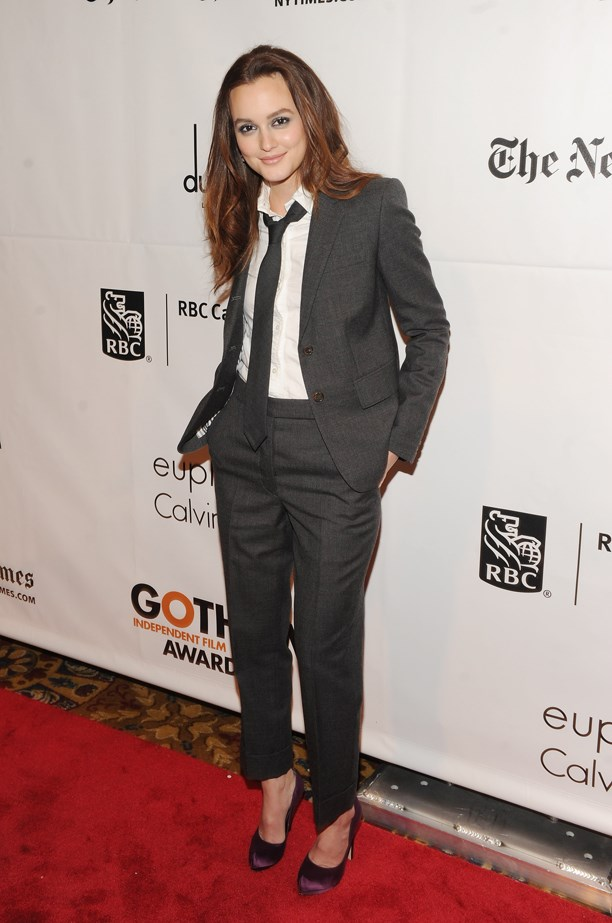 Leighton Meester knows how to rock a grungy suit.