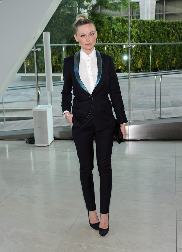 Kirsten Dunst worked this sharp suit at the CFDA awards.