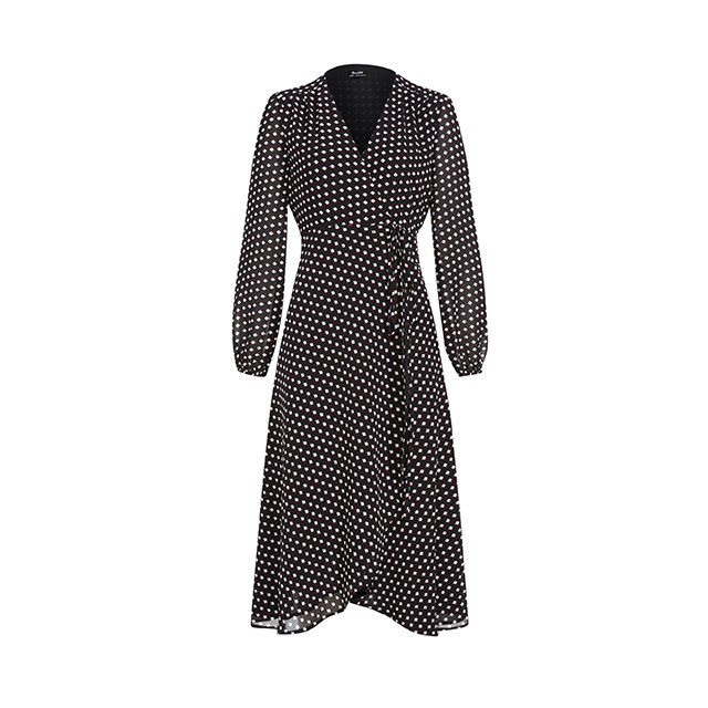 "Wrap dress, $50, <a href=""https://www.bardot.com/bardot/merchandising/salebl/50-dresses/camilla-wrap-dress"">Bardot</a>."