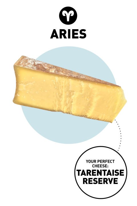 """<p><strong>Aries</strong></p> <p>Originality ranks high with Aries, who want everything to be """"one of a kind."""" These anti-poseurs never try too hard, though: It's their unabashed self-expression that makes them stand out. They are often the first to experiment with a new process or way of making things.</p> <p><strong>Your Perfect Cheese</strong>: Tarentaise Reserve</p> <p><strong>Why</strong>: It has a savory flavor and dense, fudgy texture that sets it apart from other cheeses on the market. Though lesser known, Tarentaise is starting to build some serious street cred: Last year, it won best in show at the American Cheese Society competition.</p>"""
