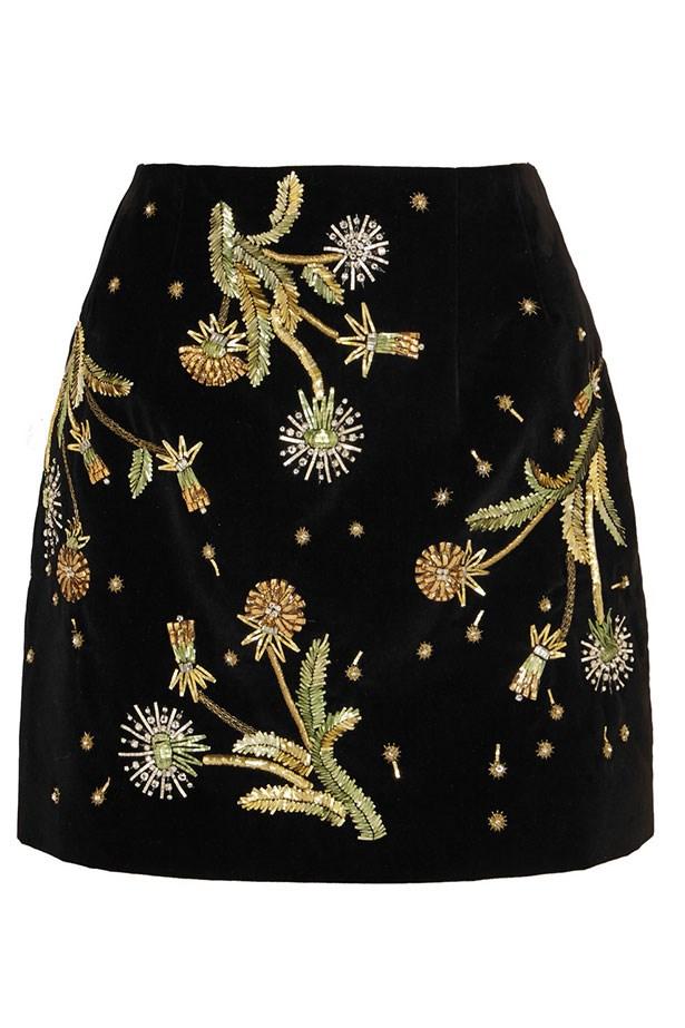 """Skirt, $731, Topshop Unique, <a href=""""http://www.net-a-porter.com/au/en/product/604864/Topshop_Unique/brunswick-embellished-cotton-velvet-mini-skirt"""">net-a-porter.com</a>"""