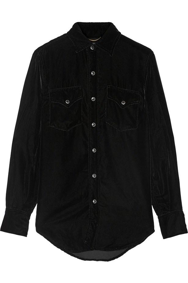 """Shirt, $2124, Saint Laurent, <a href=""""http://www.net-a-porter.com/au/en/product/608797/Saint_Laurent/velvet-shirt"""">net-a-porter.com</a>"""