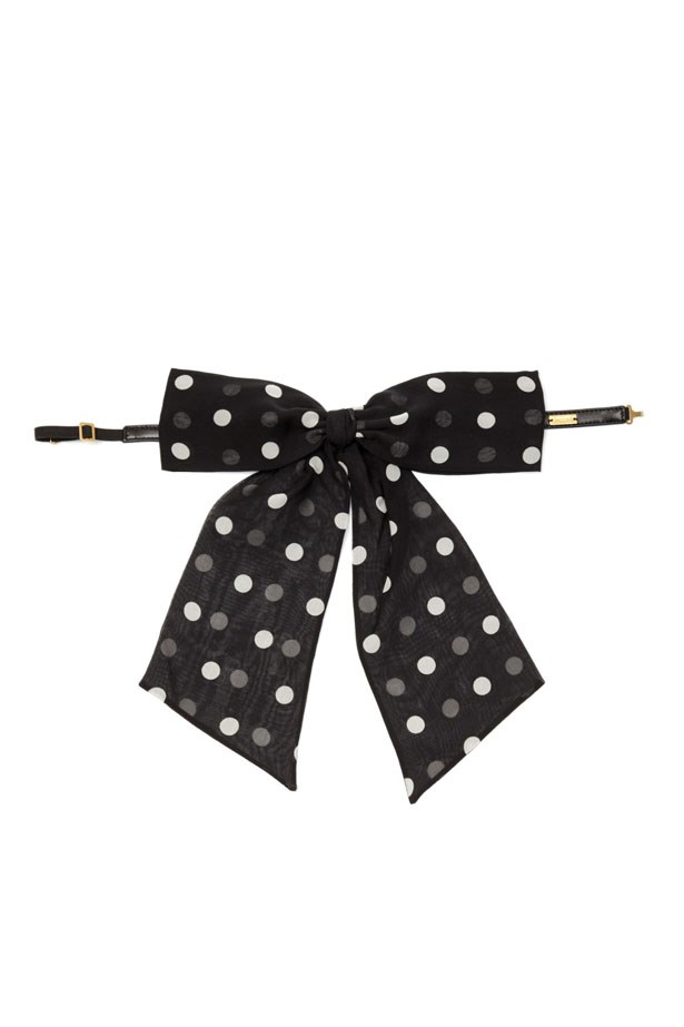 "Silk Bow Tie, $409, Saint Laurent, <a href=""http://www.matchesfashion.com/au/products/Saint-Laurent-Lavaliere-polka-dot-print-silk-bow-tie--1027985"">matchesfashion.com.au</a>"