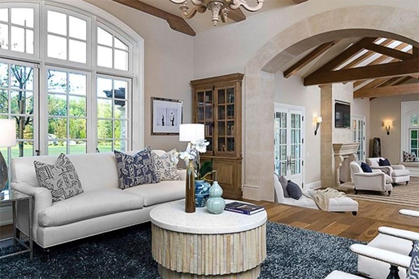 Inside their modest living room.