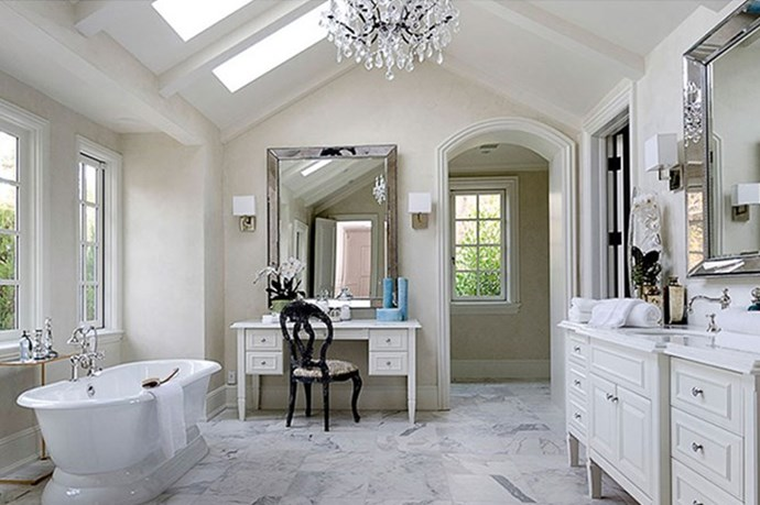 An all-white bathroom.