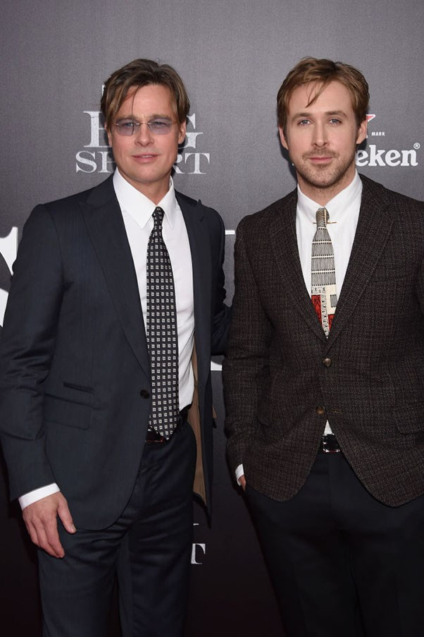 Brad Pitt And Ryan Gosling Had An Adorable Floppy Haired Twin Moment