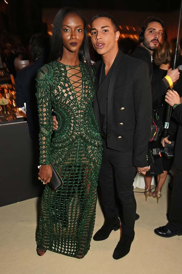 Riley Montana and Olivier Rousteing attend the British Fashion Awards.