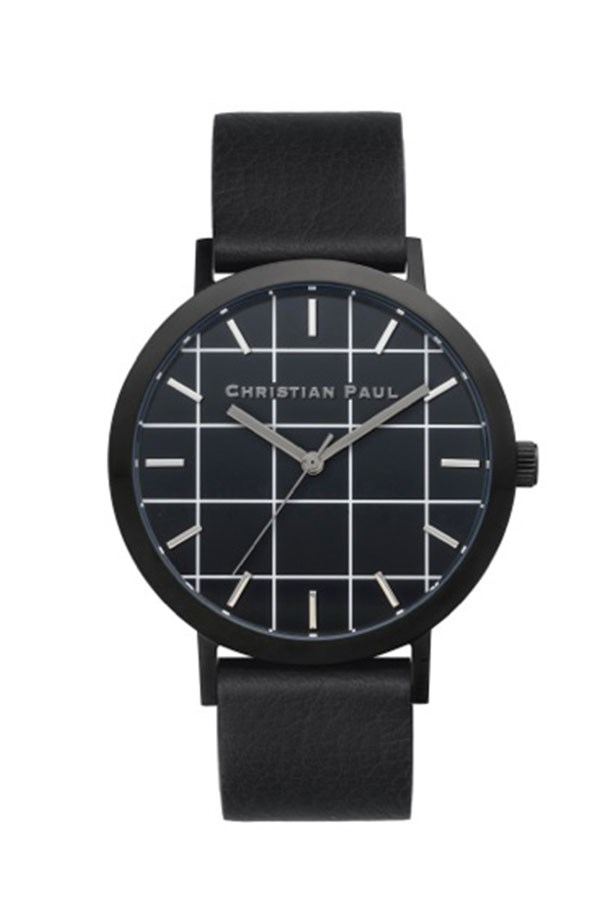 "Watch, $199, Christian Paul, <a href=""http://www.christianpaul.com.au/collections/all/products/grid-black-black"">christianpaul.com.au</a>"