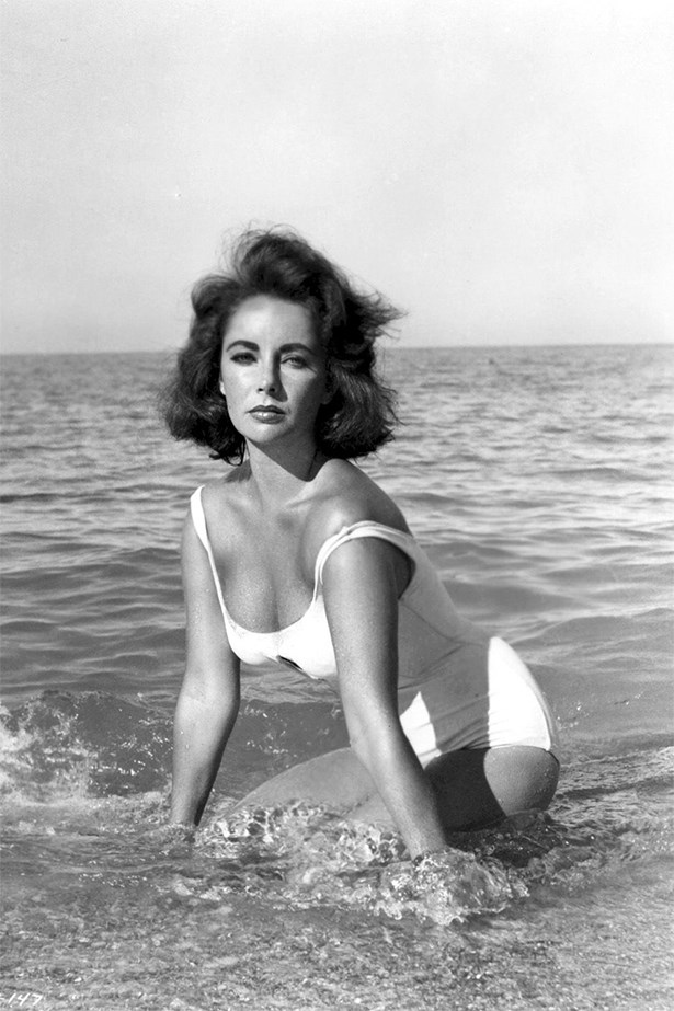 Elizabeth Taylor in the ruched one piece.