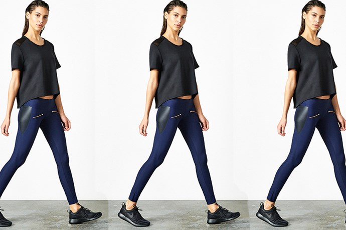 """<a href=""""https://www.thisisaday.com/#!/products/leggings"""">A Day 'Throw and Roll' Leggings, $125.00.</a>"""