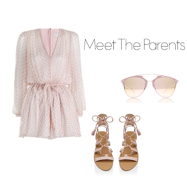 "<p>Meeting The Parents</p> <p>Have to meet the parents for the first time over Christmas? Do not fret, just play it safe and there's no safer option than a Zimmermann playsuit with matching sandals.</p> <p><a href=""https://www.zimmermannwear.com/readytowear/rhythm-dot-tuck-playsuit-blush.html"">Zimmermann playsuit</a>, $495.</p> <p><a href=""http://www.forevernew.com.au/jackie-lace-up-sandals-235101?colour=pink+snake"">Lace-up sandals</a>, $59.95.</p> <p><a href=""https://au.sunglassesshop.com/dior/reflected/pink-m2q/48418.aspx?utm_medium=cse&utm_source=google&utm_campaign=Dior&utm_content=48418&gclid=CKO42bSCwckCFUYHvAodESELSA&gclsrc=aw.ds"">Dior sunglasses</a>, $489.</p>"