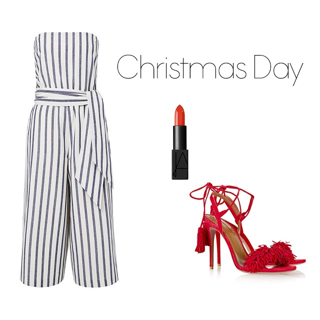 "<p>Christmas Day</p> <p>Christmas day always calls for a touch of red. Keep things comfortable in a jumpsuit, after all, it hides that stomach full of pudding.</p> <p><a href=""http://www.seedheritage.com/new-arrivals/stripe-linen-jumpsuit/w1/i13470014_1001285/"">Seed Heritage jumpsuit</a>, $139.95.</p> <p><a href=""http://mecca.com.au/nars/audacious-lipstick/V-019305.html?cgpath=makeup-lips-lipstick"">NARS lipstick</a>, $47.</p> <p><a href=""http://www.net-a-porter.com/au/en/product/638302/aquazzura/wild-thing-fringed-suede-sandals"">Fringed sandals</a>, $785.</p>"
