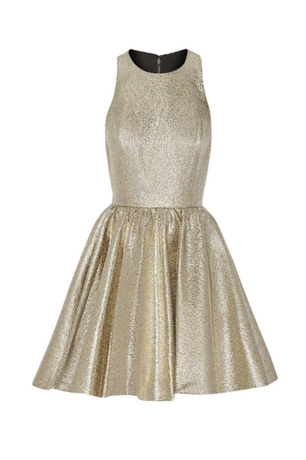 "Alice & Olivia mini dress, $415, <a href=""http://www.net-a-porter.com/au/en/product/559425/alice___olivia/tevin-racer-back-lame-mini-dress "">Net-A-Porter</a>"