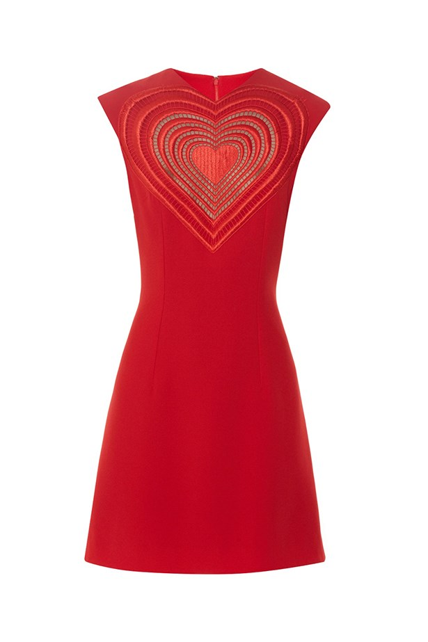 "Christopher Kane dress, $1685, <a href=""http://www.matchesfashion.com/au/products/Christopher-Kane-Love-Heart-crepe-mini-dress-1036126"">Matches Fashion</a>"
