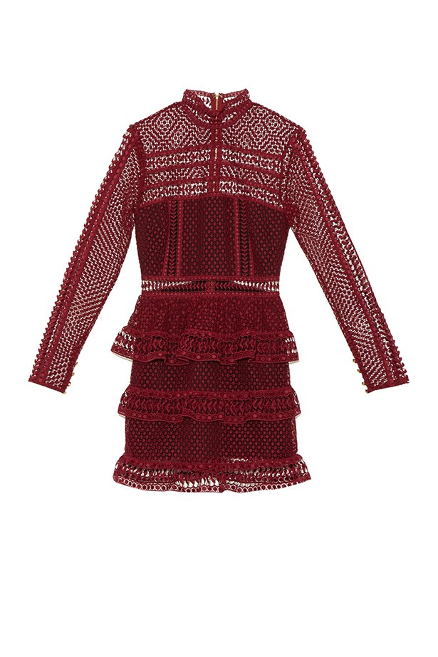 "Self Portrait lace dress, $474, <a href=""http://www.matchesfashion.com/au/products/Self-portrait-High-neck-lace-mini-dress-1034187"">Matches Fashion</a>"