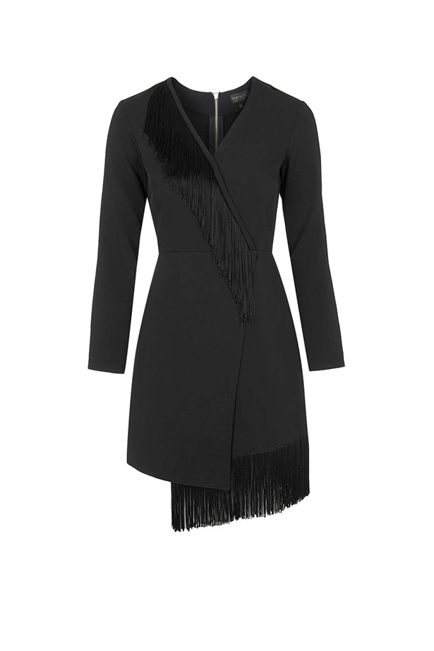 "Fringed dress, $154, <a href=""http://www.topshop.com/en/tsuk/product/clothing-427/dresses-442/going-out-party-dresses-3233926/fringe-wrap-crepe-dress-4905746?bi=60&ps=20"">Topshop</a>"