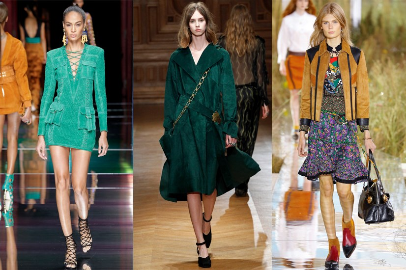 <strong>70s suede</strong> <p> <p> If there was ever a way for the 70s to come back this year, it would be in bright, butter soft suede pieces in eye-watering mustard, teal and blue. Thanks to Balmain, Coach and Sharon Wauchob.