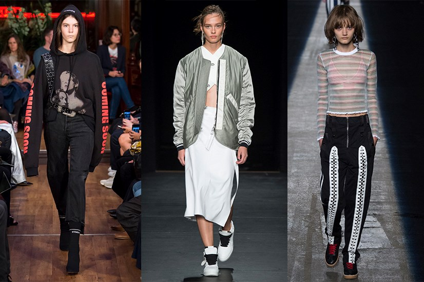 <strong>Athleisure</strong> <p> <p> One of the trends that rose in 2015 and will continue into 2016 is athleisure - the perfect balance between sporty and luxe. Alexander Wang and Hood By Air point the way.