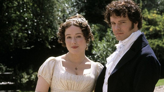 <strong>45. PRIDE AND PREJUDICE (1995)</strong> <br><br> Okay, okay, it's officially a mini-series. But this adaptation of Jane Austen's classic novel will go down in history as one of the most romantic on-screen love stories ever. Colin Firth as Mr. Darcy, emerging from that lake, anyone?