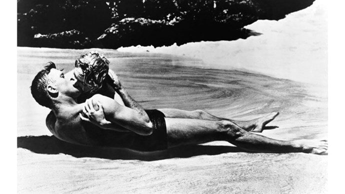 <strong>49. FROM HERE TO ETERNITY (1953)</strong> <br><br> This World War II-set Hollywood classic stars heavyweights Frank Sinatra, Deborah Kerr and Montgomery Clift, set in the Hawaiian army barracks in the days preceding the Japanese attack on Pearl Harbour. That beach scene = classic.