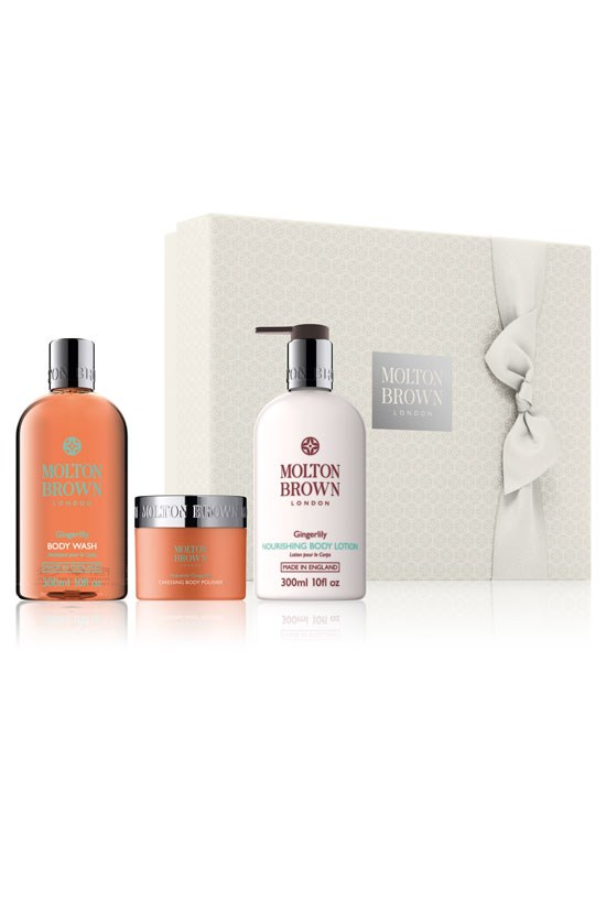 "<strong>Gingerlily Bathing Set</strong>, $90, Molton Brown, <a href=""http://www.moltonbrown.com.au/store/gifts/christmas-gifts/heavenly-gingerlily-caressing-body-gift-set/MBC518/"">moltonbrown.com.au</a> <br><br> Indulge in some luxury bath time."