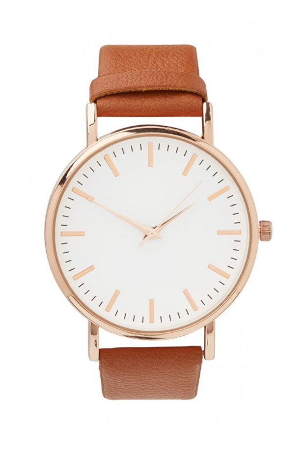 "Brown Leather Watch, $39.95, Sportsgirl, <a href=""http://www.sportsgirl.com.au/accessories/watches/tick-tock-tan-watch-tan-all"">sportsgirl.com.au</a>"