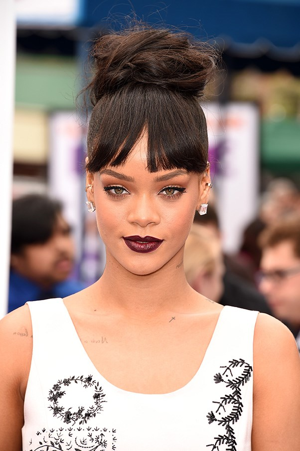 <strong>22nd March </strong> <br><br><strong>Rihanna</strong> makes a statement at the<strong> Los Angeles</strong> premiere of <em>Home</em> with a full fringe and loose topknot.