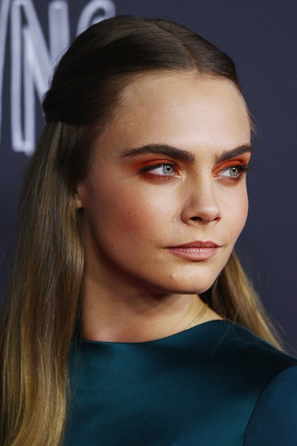 <strong>5th July </strong> <br><br>Never one to shy away from bold beauty looks,<strong> Cara Delevingne </strong>dons orange eyeshadow at the <strong>Sydney</strong> premiere of <em>Paper Towns</em>.