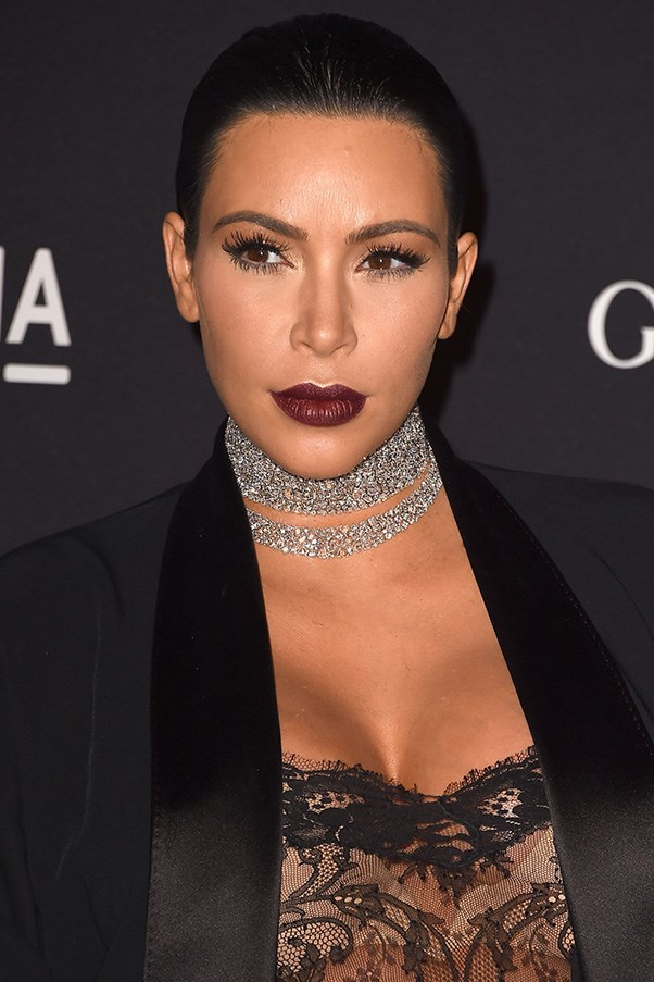 <strong>7th November </strong> <br><br><strong>Kim Kardashian</strong> pulls her raven locks into a polished updo at the <strong>LACMA Art + Film Gala</strong>.