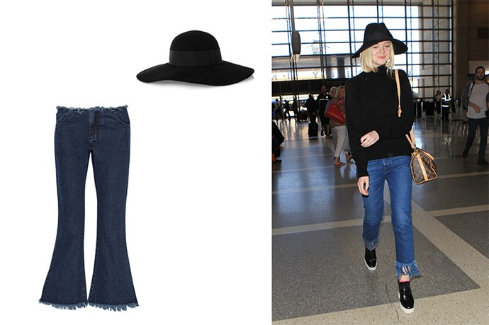 "<p>Staying Cool, Regardless Of Time Zones.</p> <p>Elle Fanning doesn't seem phased by her upcoming flight and sticks to her cool girl roots in platform loaders and fringed denim.</p> <p>Hat, $437, <a href=""http://www.net-a-porter.com/au/en/product/598243/eugenia_kim/honey-wide-brim-rabbit-felt-hat"">Net-A-Poter</a>.</p> <p>Jeans, $436, <a href=""http://www.net-a-porter.com/au/en/product/609340/marques__almeida/cropped-frayed-low-rise-flared-jeans"">Net-A-Porter</a>.</p>"