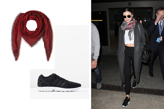 "<p>At The Airport In My Active Wear.</p> <p>Miranda Kerr threw on her leggings and Adidas trainers to her trip to the airport. Accessories with sunnies and a scarf and no one can tell, right?</p> <p>Scarf, $193, <a href=""http://www.stylebop.com/au/product_details.php?id=662932&tmad=c&tmcampid=243&partner=polyvore&campaign=affiliate/polyvore/au/&utm_source=affiliate&utm_medium=polyvore_au&utm_campaign=polyvore_{Alexander+McQueen}_{Scarves}_{242391}"">Style Bop</a>. </p> <p>Trainers, $100, <a href=""http://www.theiconic.com.au/zx-flux-140934.html?wt_se=au.sem_nonbrand.google.pla.adgroup.ad&kpid=AD660SH65AMO&gclid=CPrw2ZPR0skCFRYIvAodDpgCvQ"">The Iconic</a>.</p>"